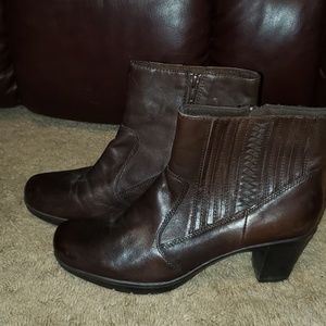Clarks brown leather heeled boots size 10
